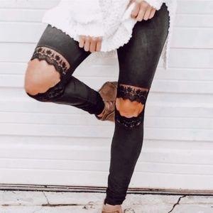 • BOUTIQUE • black suede lace knee leggings